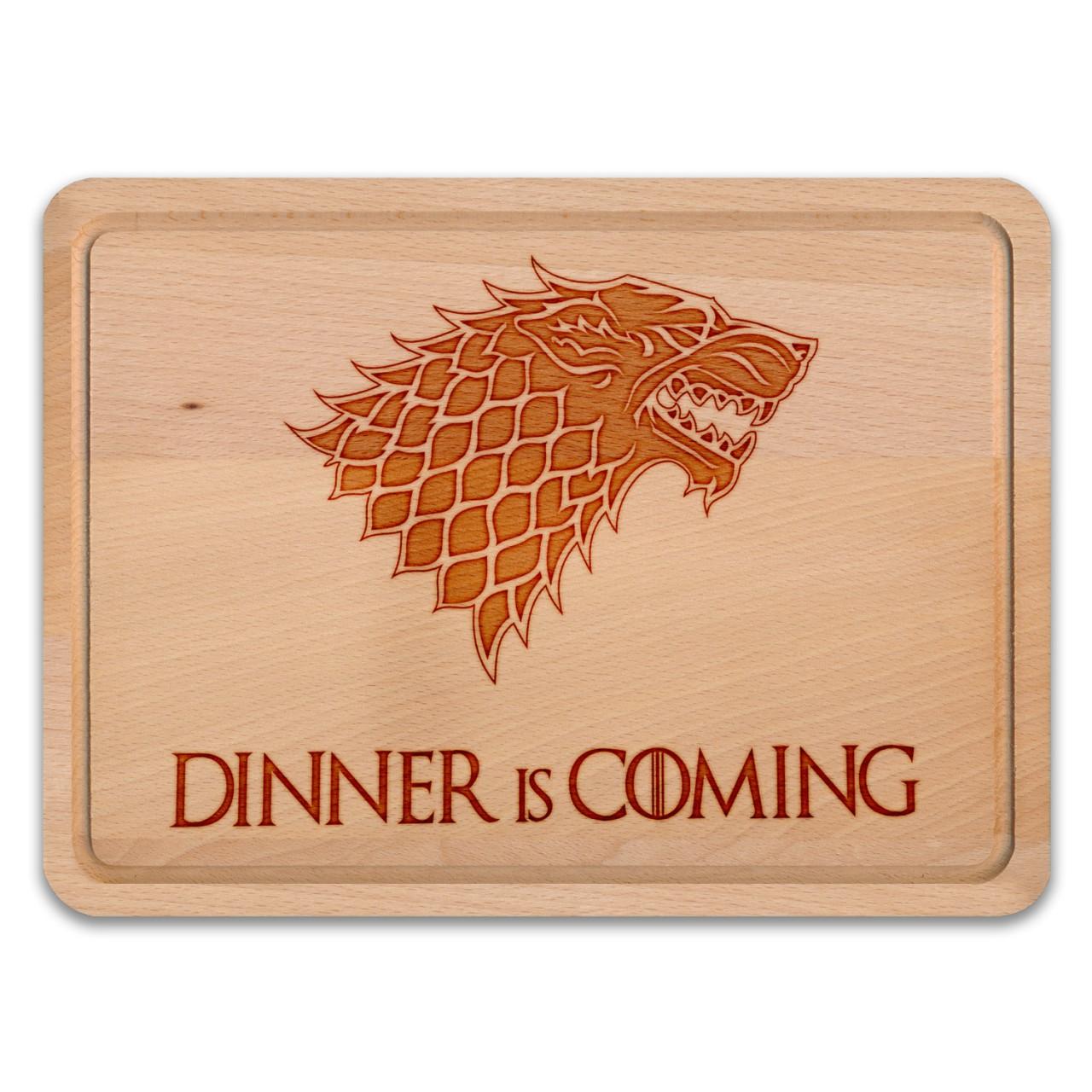Dinner is coming - Schneidebrett / Frühstücksbrett / Käsebrett inspiriert von Game of Thrones