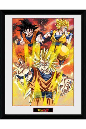 Dragonball Z Poster im Rahmen 3 Gokus 45 x 34 cm