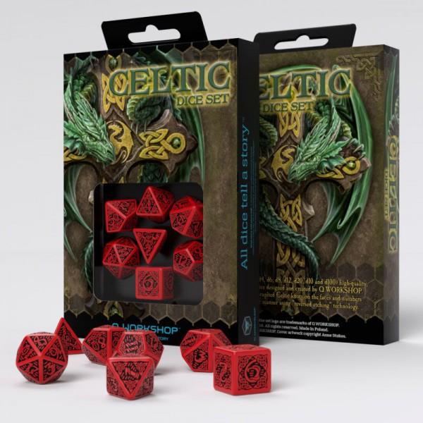 Celtic 3D Revised Würfel Set rot & schwarz (7)