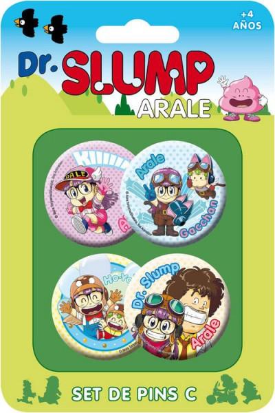 Dr. Slump Ansteck-Buttons 4er-Pack Set C