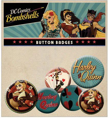 DC Comics Bombshells Ansteck-Buttons 6er-Pack Harley Quinn