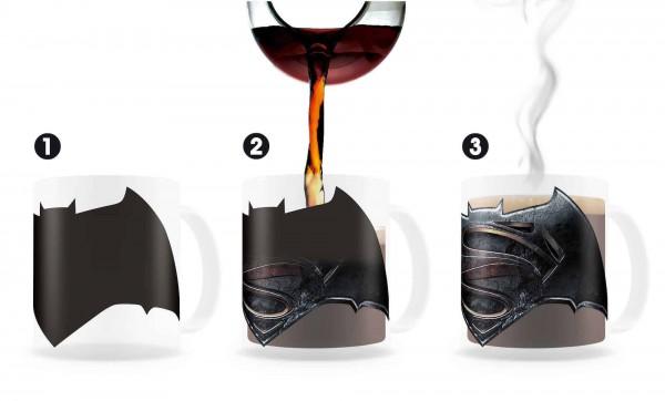 Batman v Superman Tasse mit Thermoeffekt Logo