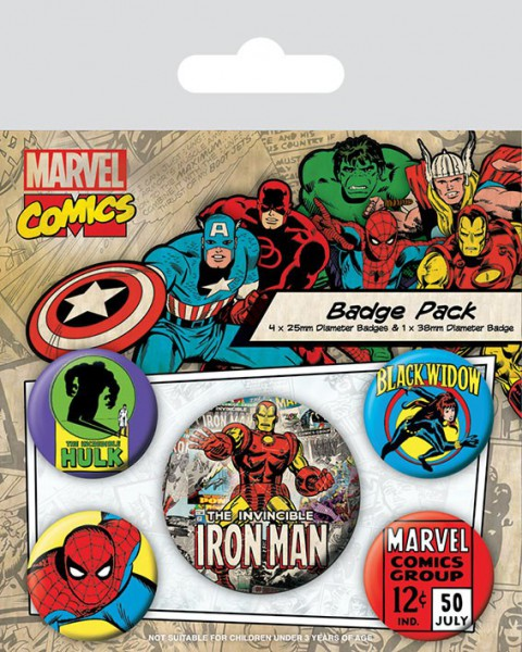 Marvel Comics Ansteck-Buttons 5er-Pack Iron Man