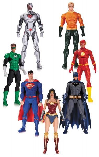 DC Rebirth Justice League Actionfiguren 7er-Pack 18 cm --- BESCHAEDIGTE VERPACKUNG