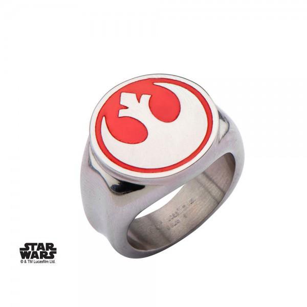 Star Wars Edelstahl-Ring Red Rebel Alliance Symbol