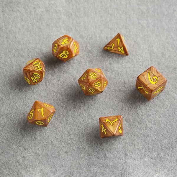 Classic RPG Würfel Set karamell & gelb (7)