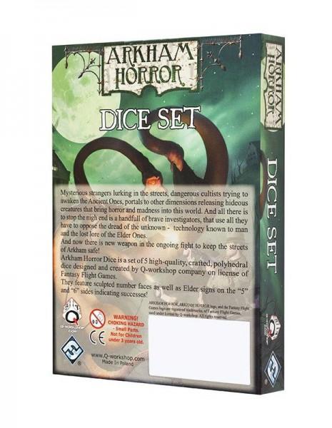 Arkham Horror Würfel-Set 5D6 schwarz & grün (5)